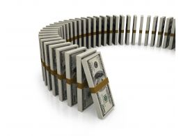 Dollar Standing Like A Row Of Dominoes Stock Photo