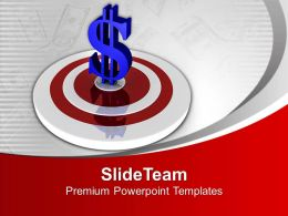 Dollar Symbol On Target Board Powerpoint Templates Ppt Themes And Graphics 0313