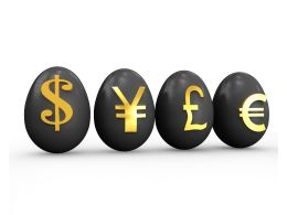 Dollar Yen Pound Euro Currencies Symbols On Eggs Stock Photo