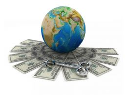Dollars Around The Globe For Finance Stock Photo