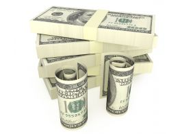 Dollars Bundle With Dollar Rolls Stock Photo