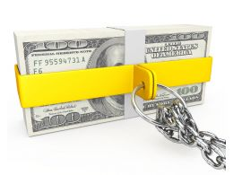 Dollars Covered With Chain Stock Photo