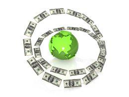 Dollars Flying Around The Globe Shows Finance Stock Photo