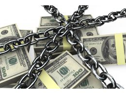 Dollars Surrounded With Chain Stock Photo