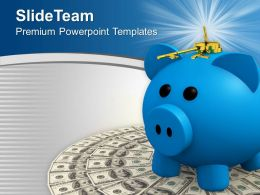 Dollars With Piggy Bank And Keys To Open It Powerpoint Templates PPT Themes And Graphics 0213