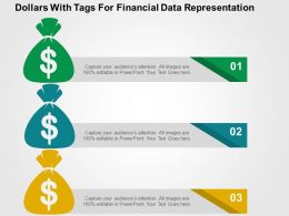Dollars With Tags For Financial Data Representation Flat Powerpoint Design