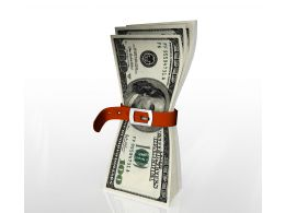 Dollars With Tighten Belt For Financial Crisis Stock Photo