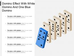 Domino Effect With White Domino And One Blue Domino