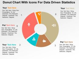Donut Chart With Icons For Data Driven Statistics Powerpoint Slides