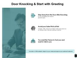 Door Knocking And Start With Greeting Knocking Trust Ppt Powerpoint Presentation Outline Backgrounds