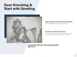 Door Knocking And Start With Greeting Ppt Powerpoint Presentation Icon Layouts
