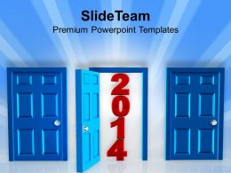 Door Open For Year 2014 PowerPoint Templates PPT Backgrounds For Slides 1113