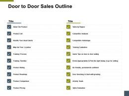 Door To Door Sales Outline About The Product Ppt Powerpoint Presentation Layouts Smartart