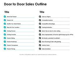 Door To Door Sales Outline Competitor Analysis Ppt Powerpoint Presentation File Slides