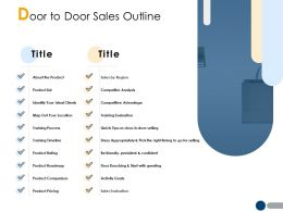 Door To Door Sales Outline Sales By Region Ppt Powerpoint Presentation File Example