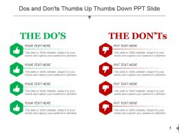 Dos And Donts Thumbs Up Thumbs Down Ppt Slide