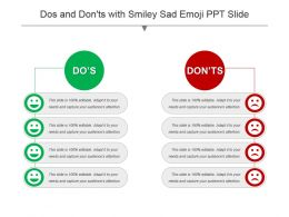 Dos And Donts With Smiley Sad Emoji Ppt Slide
