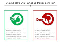 Dos And Donts With Thumbs Up Thumbs Down Icon Ppt Icon