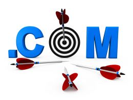Dot Com Word With Dart And Arrows Showing Online Target Graphic Stock Photo