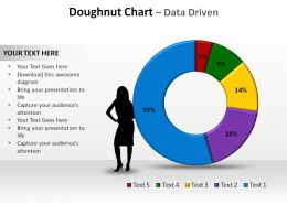 doughnut chart data driven with silhouette standing slides diagrams templates powerpoint info graphics