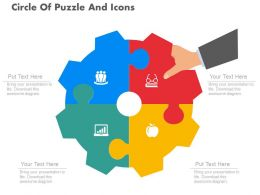 download Circle Of Puzzle And Icons For Search Engine Optimization Flat Powerpoint Design