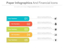 download Five Paper Infographics And Financial Icons Flat Powerpoint Design