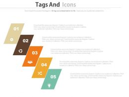 download Five Staged Colored Tags And Icons Business Process Flow Flat Powerpoint Design