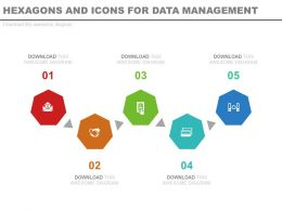 download Five Staged Hexagons And Icons For Data Management Flat Powerpoint Design