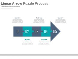 download Five Staged Linear Arrow Puzzle Diagram Flat Powerpoint Design