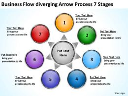 download flow diverging arrow process 7 stages Circular Network PowerPoint templates