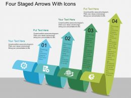 download Four Staged Arrows With Icons Flat Powerpoint Design