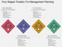 download Four Staged Timeline For Management Planning Flat Powerpoint Design
