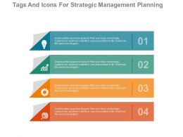 download Four Tags And Icons For Strategic Management Planning Flat Powerpoint Design