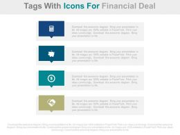 download Four Tags With Icons For Financial Deal Flat Powerpoint Design