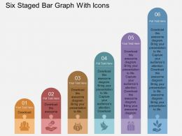 download Six Staged Bar Graph With Icons Flat Powerpoint Design