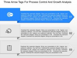 download Three Arrow Tags For Process Control And Growth Analysis Powerpoint Template