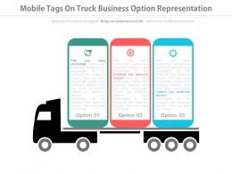download Three Mobile Tags On Truck Business Option Representation Flat Powerpoint Design