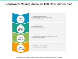 Downward Moving Arrow In 100 Days Action Plan
