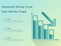 Downward Moving Trend Icon With Bar Graph