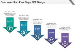 Downward Step Five Steps Ppt Design