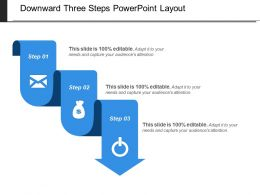 Downward Three Steps Powerpoint Layout