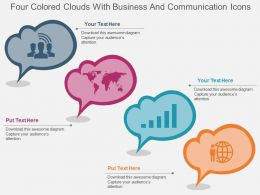 dp Four Colored Clouds With Business And Communication Icons Flat Powerpoint Design