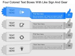 dp Four Colored Text Boxes With Like Sign And Gear Powerpoint Template