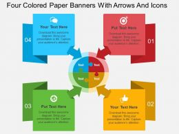 dq Four Colored Paper Banners With Arrows And Icons Flat Powerpoint Design