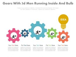 dq Gears With 3d Men Running Inside And Bulb Flat Powerpoint Design