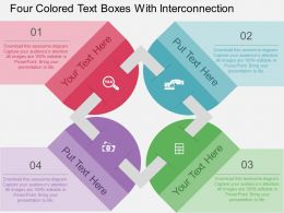 dr Four Colored Text Boxes With Interconnection Flat Powerpoint Design