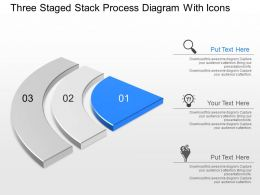 Dr Three Staged Stack Process Diagram With Icons Powerpoint Template