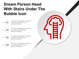 Dream Person Head With Stairs Under The Bubble Icon