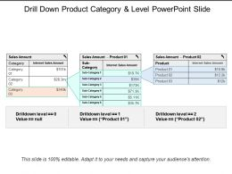 Drill Down Product Category And Level Powerpoint Slide