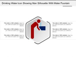 Drinking Water Icon Showing Man Silhouette With Water Fountain